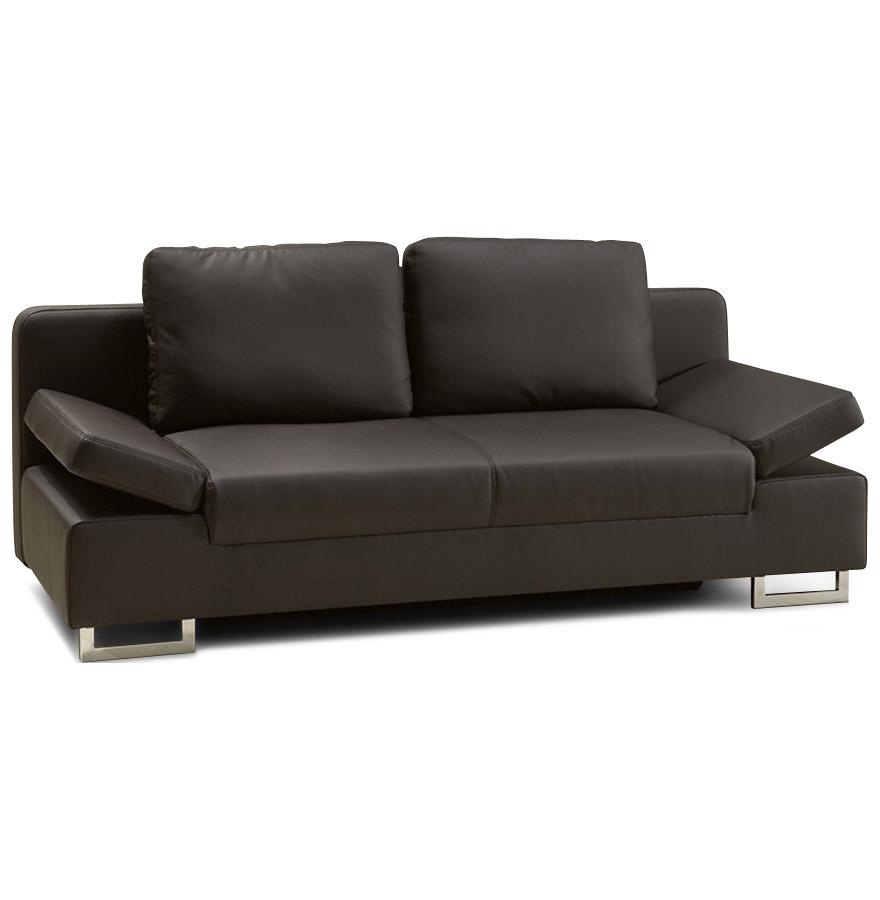 Canapé-lit-convertible avec accoudoirs relevables.
