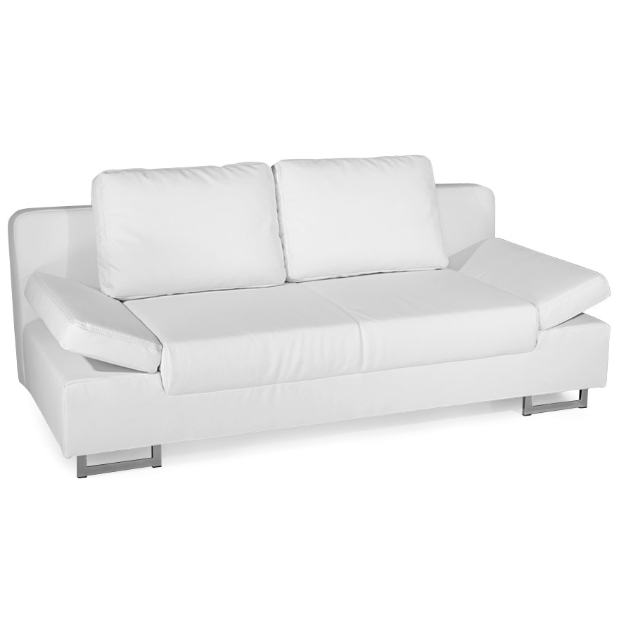 Canape Lit Convertible Bed En Similicuir Blanc 2 Places Just 1 Clic