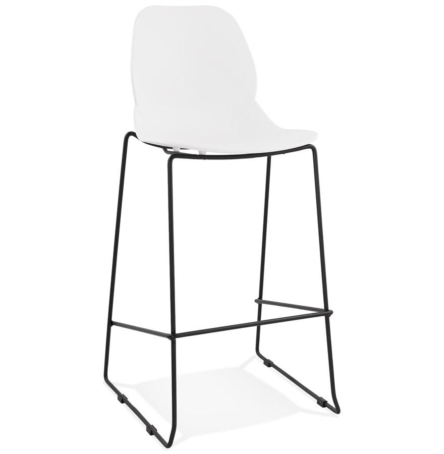 Tabouret de bar design ´BERLIN´ blanc empilable style industriel