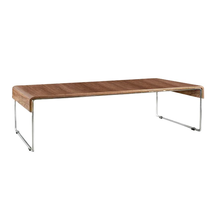 Tablette en MDF, placage noyer.<br />Structure en métal.» desc=»Tablette en MDF, placage noyer.<br />Structure en métal.» width=»265&Prime; /></a><br /> <strong>Tablette en MDF, placage noyer.<br />Structure en métal.</strong><br /> L&rsquo;élégance et la simplicité sont les maîtres atouts de cette table basse design de salon.<br />Son coloris noyer et sa structure en métal conviendra pour tous types d&rsquo;intérieurs.<br /> <span style=