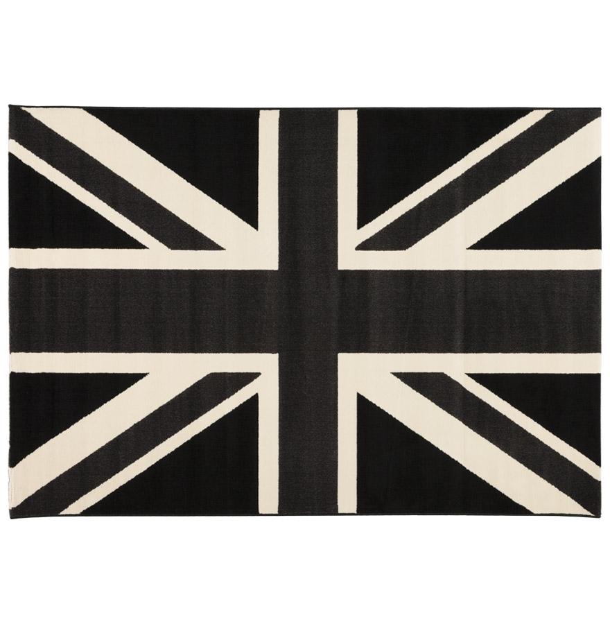 Tapis design à poils courts représentant le drapeau anglais dans les tons de gris.