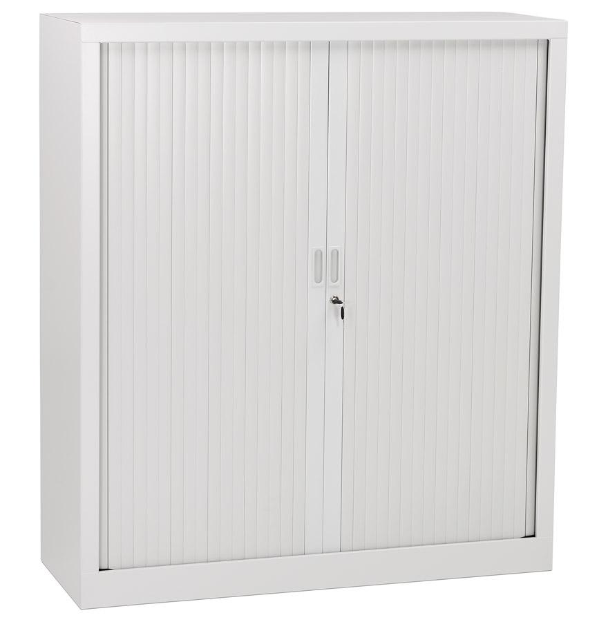 Armoire de bureau à rideaux ´CLASSIFY´ grise métallique - 136x120 cm