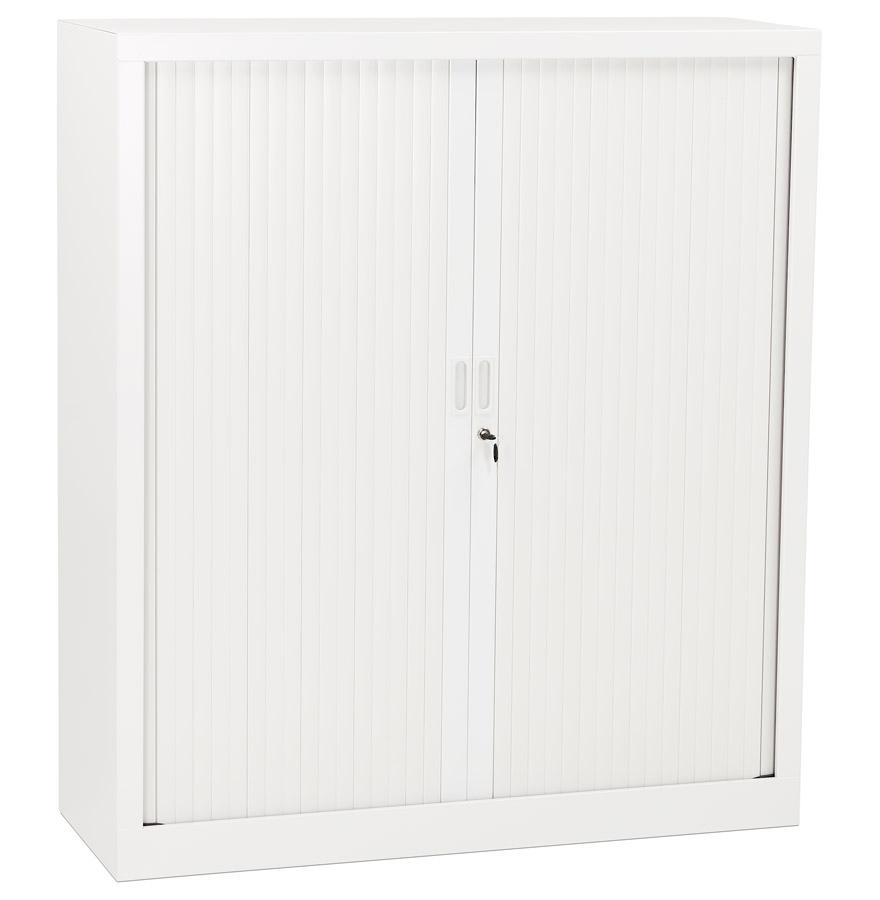 Armoire de bureau à rideaux ´CLASSIFY´ blanche métallique - 136x120 cm