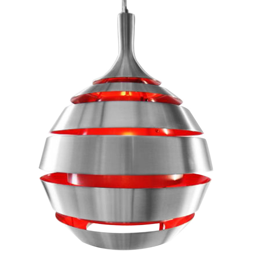 Suspension en aluminium brossé, intérieur rouge.