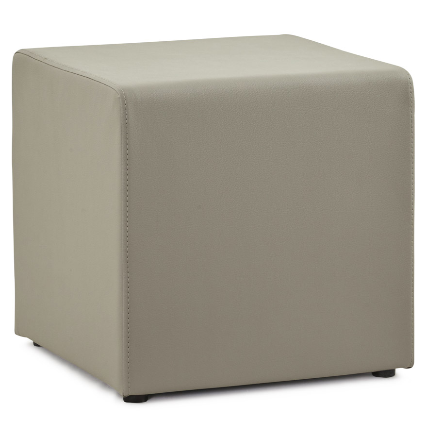 pouf 39 cube 39 de salon en similicuir gris ebay. Black Bedroom Furniture Sets. Home Design Ideas