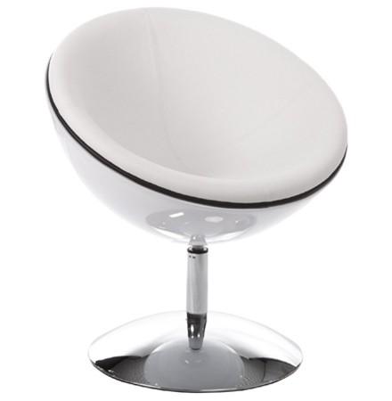 Fauteuil design boule 'SPHERA' pivotant 360° blanc