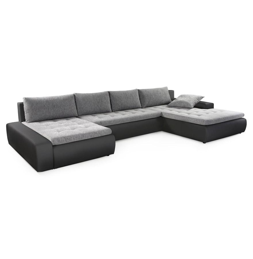 Canapé panoramique avec une assise en tissu gris clair et une structure en similicuir noir.