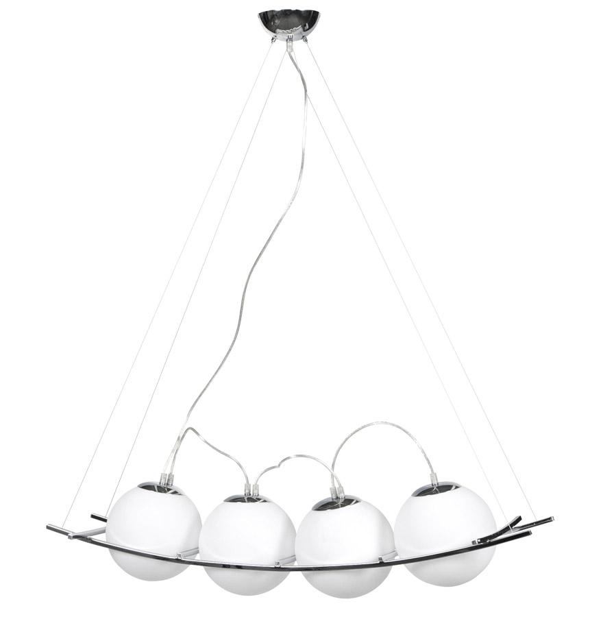 4 boules en verre teinté blanc, un des bestseller de la gamme.