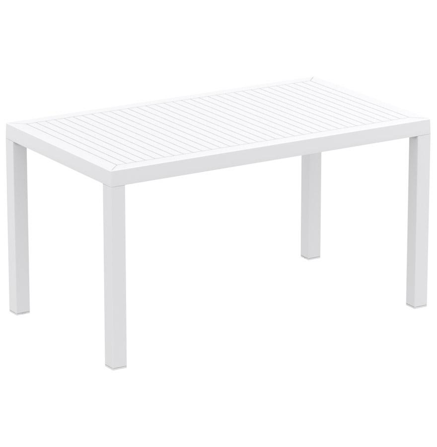 Table de jardin rectangulaire en résine (matière plastique).