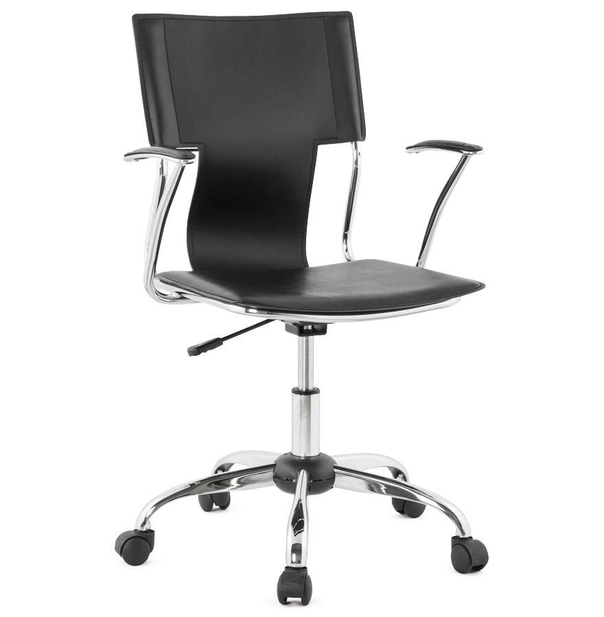 Réglable en hauteur.<br />Assise en similicuir noir tendu.» desc=»Réglable en hauteur.<br />Assise en similicuir noir tendu.» width=»265&Prime; /></a><br /> <strong>Réglable en hauteur.<br />Assise en similicuir noir tendu.</strong><br /> Le fauteuil de bureau EVO est composé d&rsquo;une structure en métal et d&rsquo;un revêtement en similicuir tendu.<br />Ce fauteuil trouvera sa place idéalement derrière un bureau pour une utilisation peu intensive, dans une salle de réunion ou comme chaise visiteur par exemple.<br /> <span style=