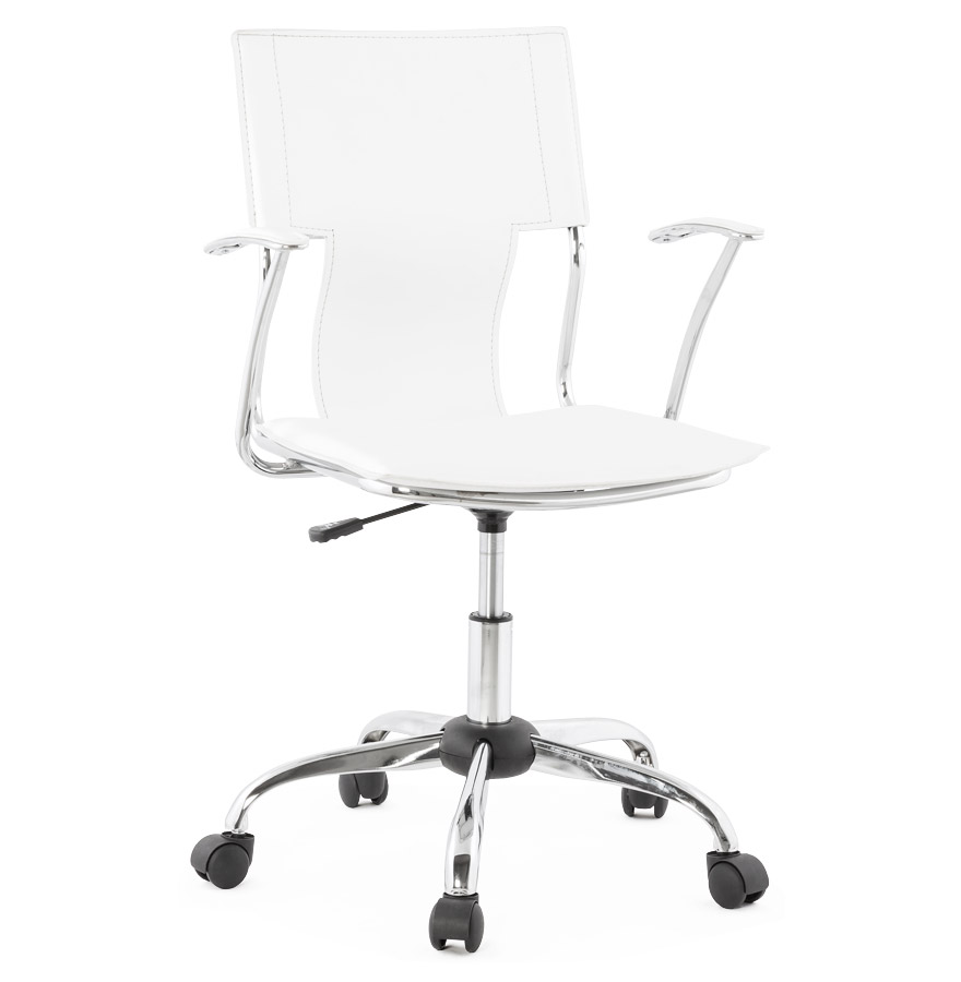 Réglable en hauteur.<br />Assise en similicuir blanc tendu.» desc=»Réglable en hauteur.<br />Assise en similicuir blanc tendu.» width=»265&Prime; /></a><br /> <strong>Réglable en hauteur.<br />Assise en similicuir blanc tendu.</strong><br /> Le fauteuil de bureau EVO possède une structure en métal et un revêtement en similicuir blanc tendu.<br />Prévu pour un usage modéré, ce fauteuil sera parfaitement à sa place derrière le bureau d&rsquo;un adolescent.<br />Bon compromis entre prix bas et style design, il pourra également servir aux professionnels, dans une salle de réunion par exemple.<br /> <span style=