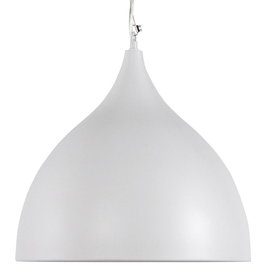 abat-jour en métal peint blanc, câble en acier réglable en hauteur.