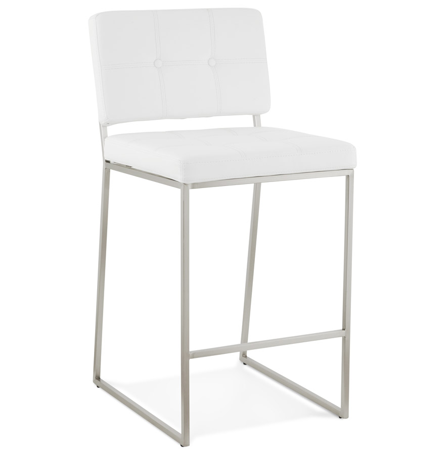 tabouret snack mi hauteur gaston blanc capitonn boutique design feria. Black Bedroom Furniture Sets. Home Design Ideas