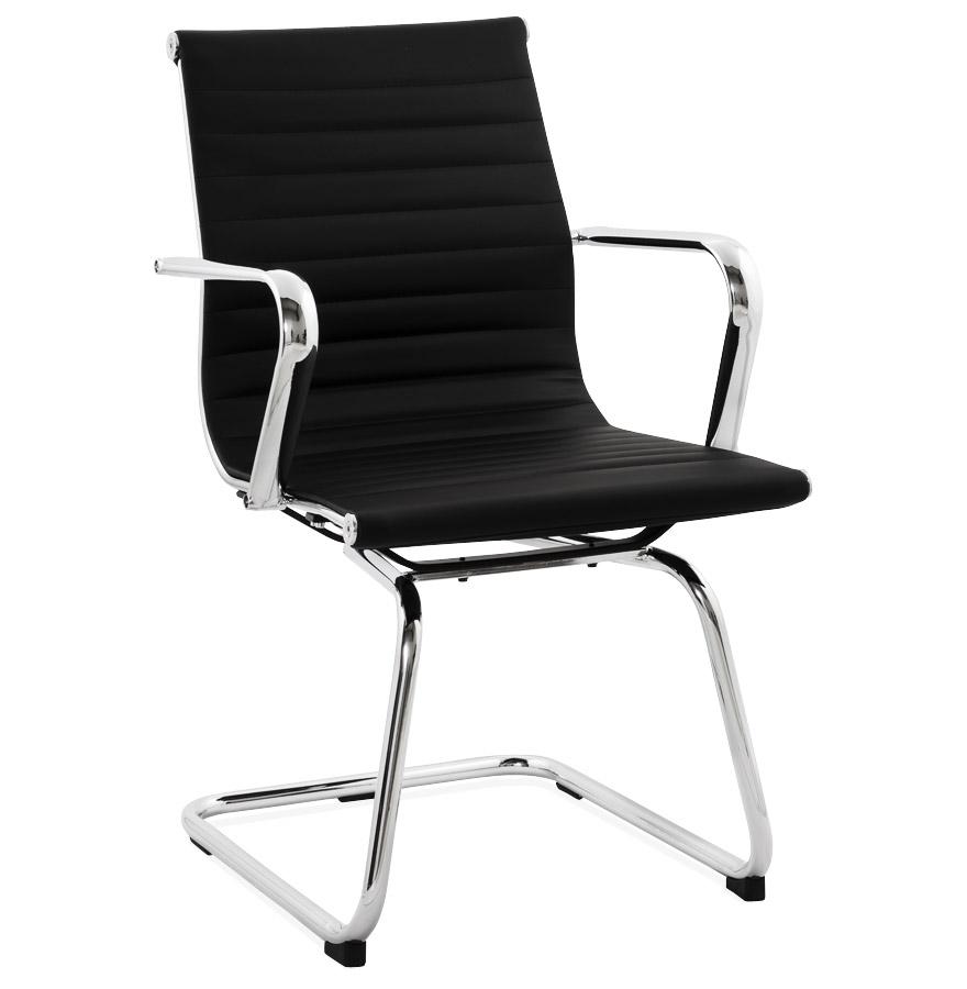 Chaise de bureau avec siège en similicuir noir et armature en métal.