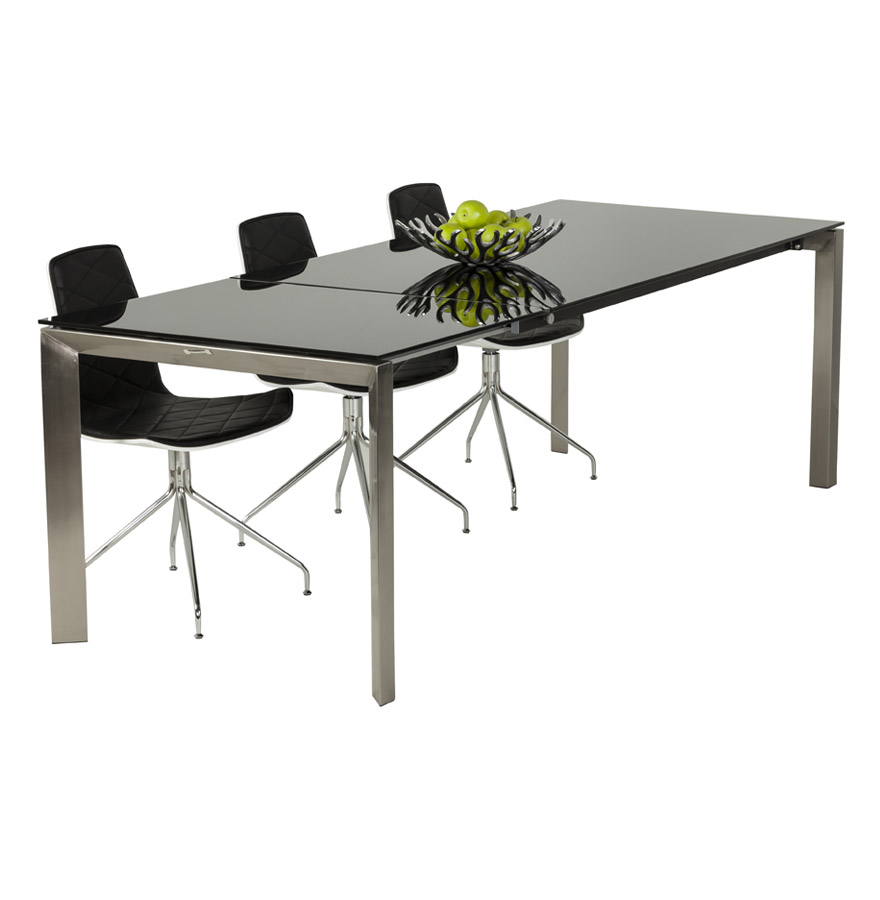 Table extensible avec allonge, tablette en verre trempé noir.