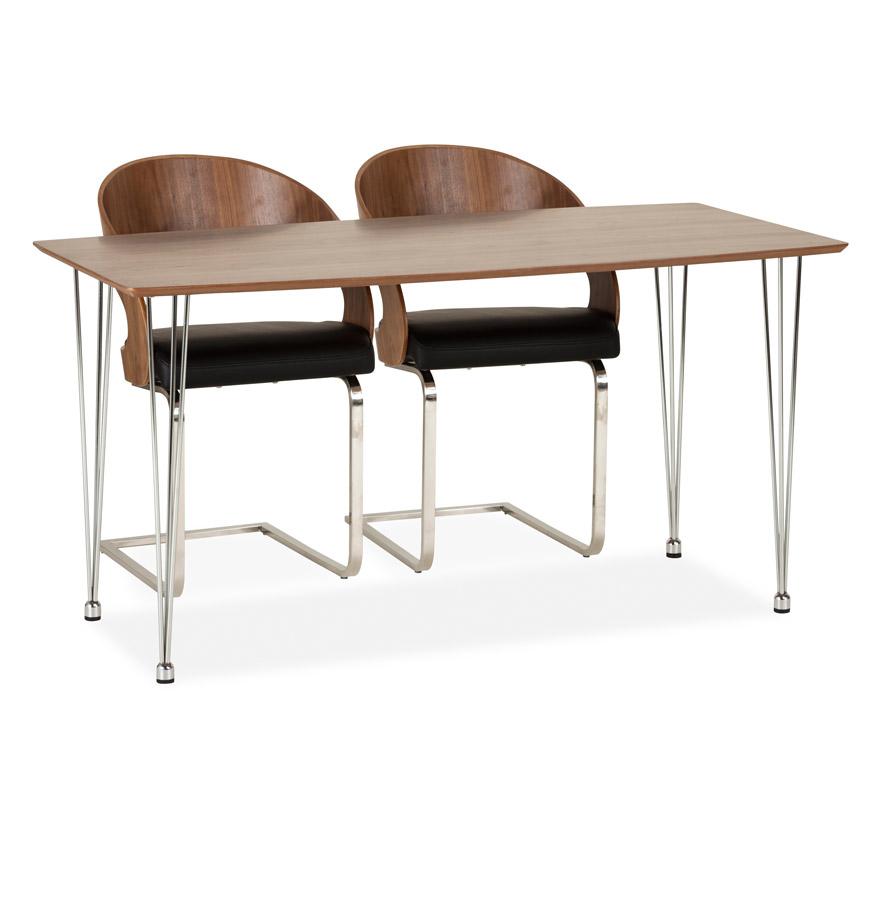 Petite table de salle à manger en bois plaqué Noyer.