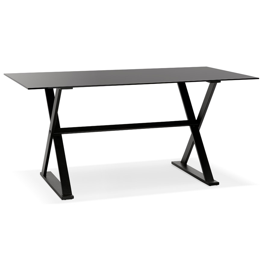 Table à diner / bureau design ´HAVANA´ en verre noir - 160x80 cm