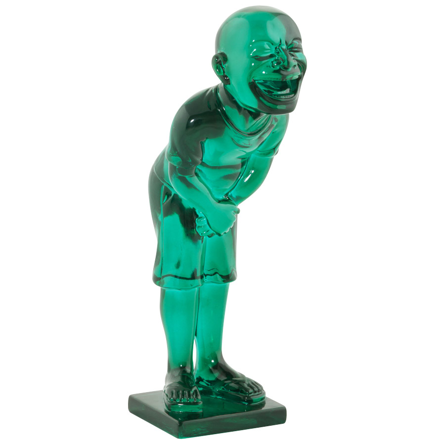 Statue d'un personnage en polyrésine bleu transparente.