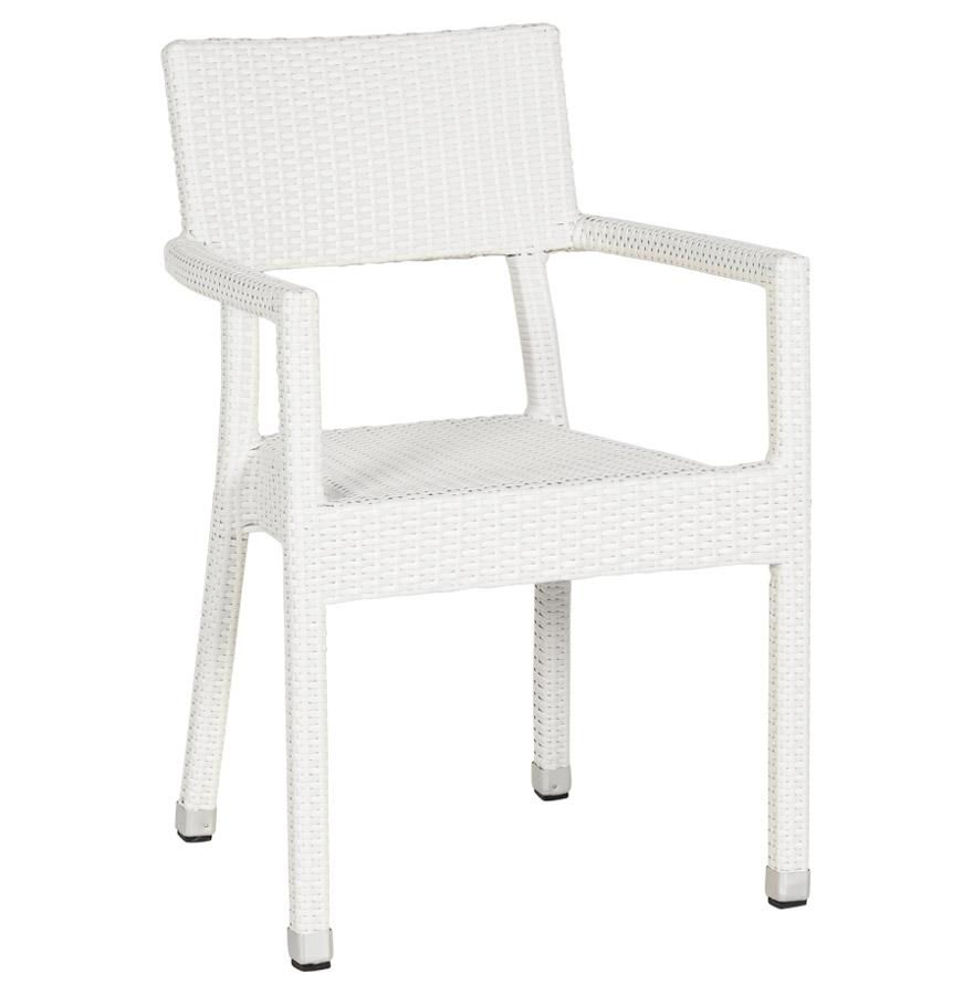 Chaise empilable avec accoudoirs, utilisation à l'extérieur possible.