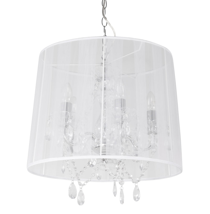 Suspension chandelier baroque 'KOSY' blanche à pampilles | Exquis Exquis Exquis Art  321068