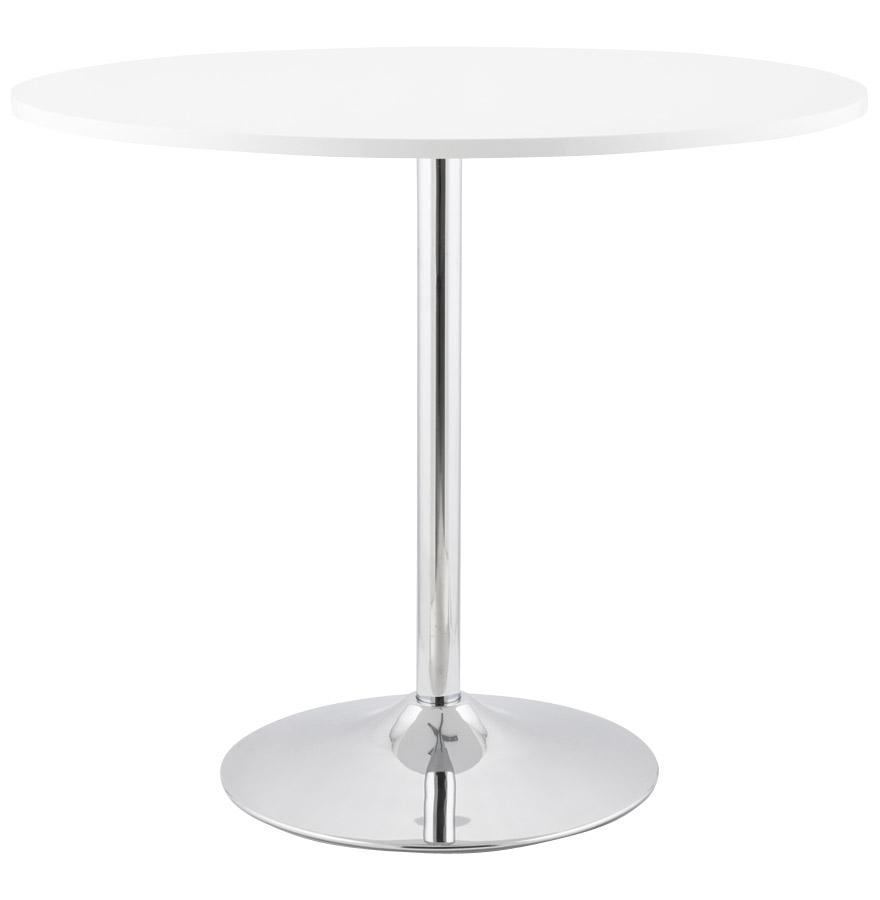 Table à dîner en bois MDF laqué blanc brillant composé d'une structure en acier chromé.