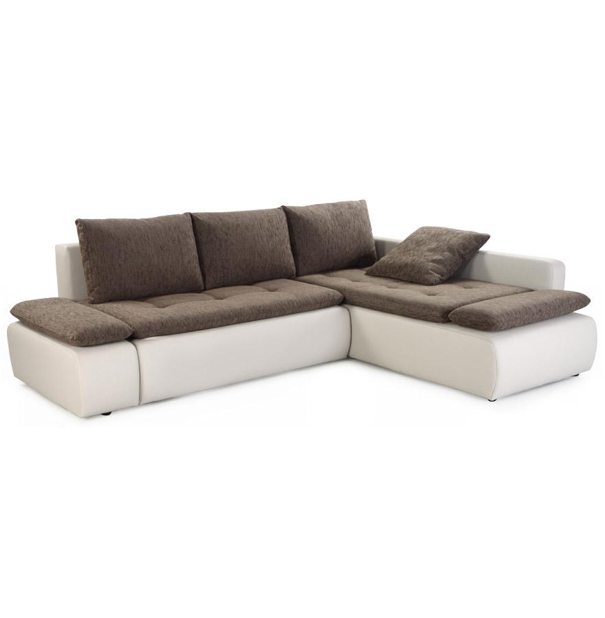 Canapé d'angle avec une assise en tissu brun et une structure en similicuir gris clair.