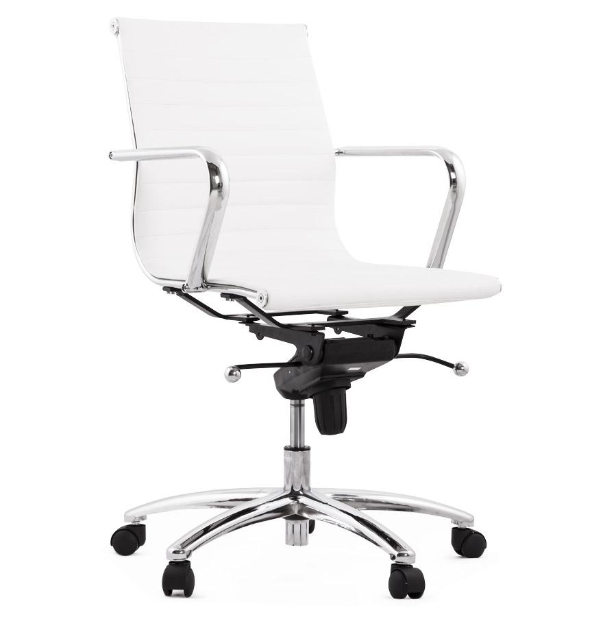 Fauteuil de bureau en similicuir blanc équipé de plusieurs réglages !