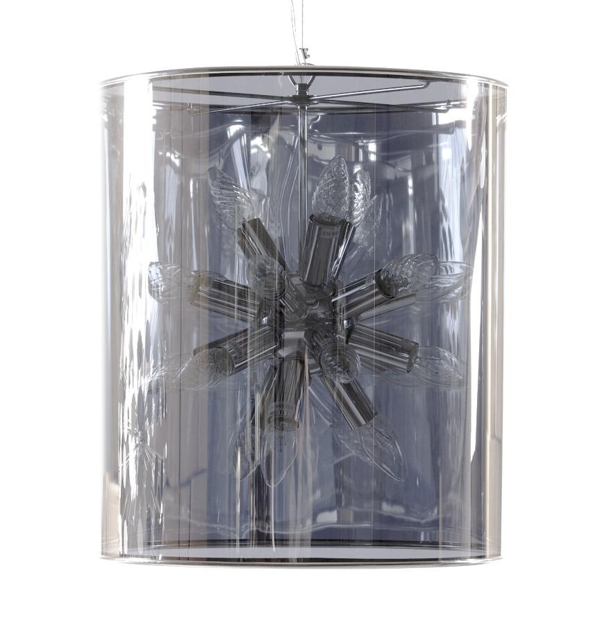 Abat-jour en plastique fumé transparent, structure en métal.