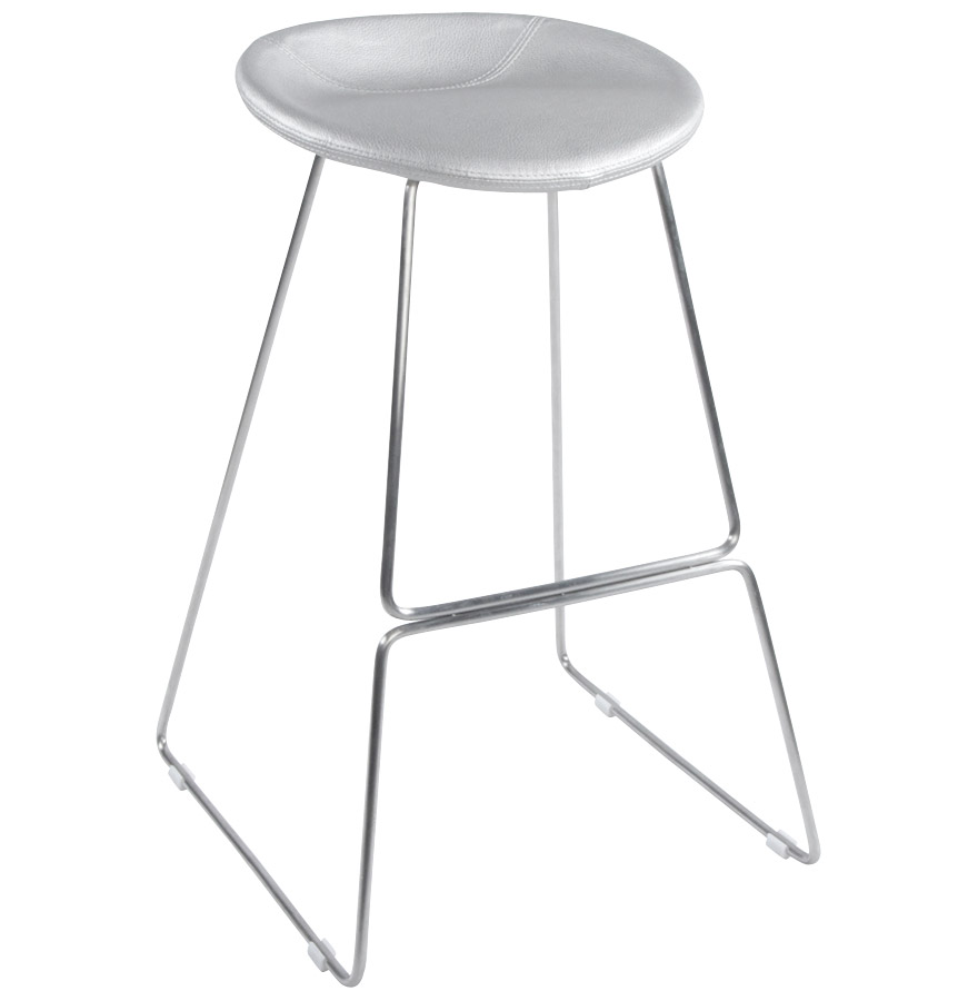 Tabouret au design spacial, assise en similicuir.