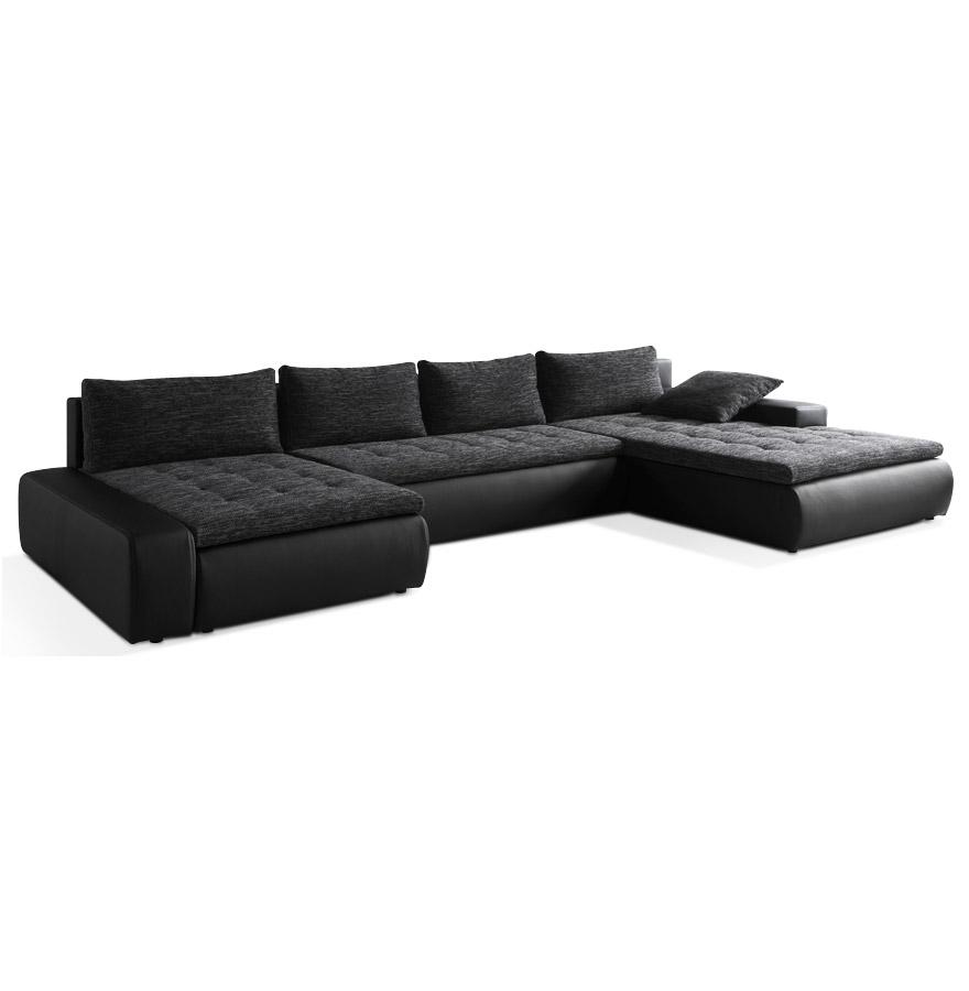 Canapé panoramique noir avec une assise en tissu et une structure en similicuir.