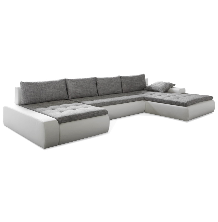 Canapé panoramique avec une assise en tissu gris et une structure en similicuir blanc.