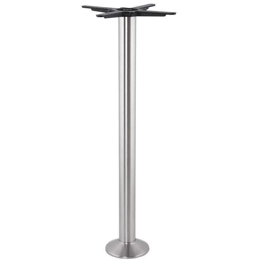 Pied de table de 110 cm de hauteur en métal brossé avec une base ronde étroite.