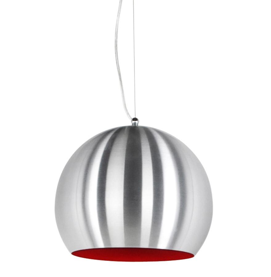 Suspension 'POGO' boule design en aluminium brossé et intérieur