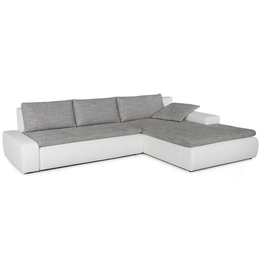 Canapé d'angle avec assise en tissu gris et structure en similicuir blanc.