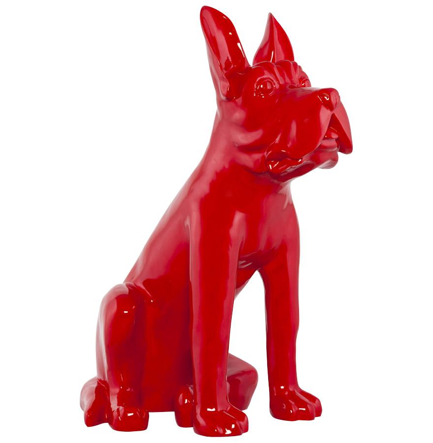Statue déco ´PUPPY´ chien en polyrésine rouge