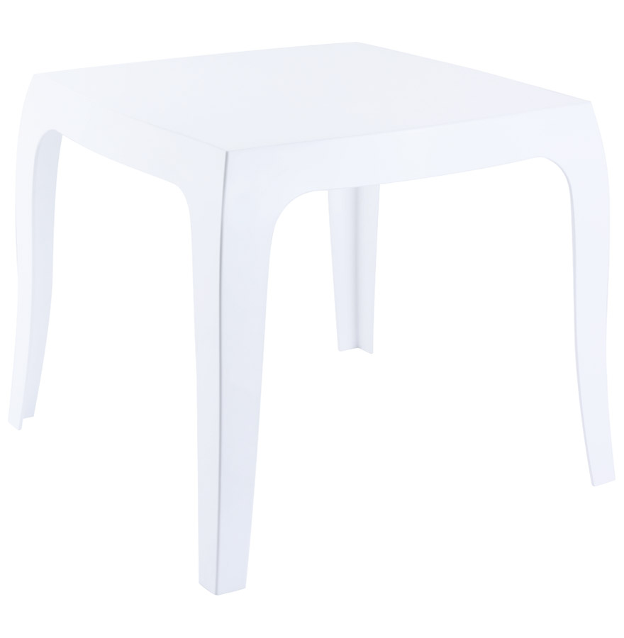 Table d'appoint en polycarbonate, utilisable à l'extérieur.