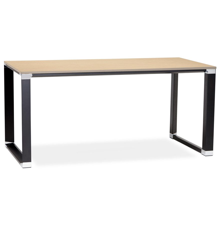 Bureau droit design ´XLINE´ en bois finition naturelle et métal noir - 160x80 cm