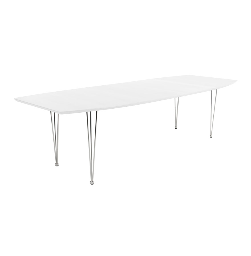 Table extensible avec allonges, tablette en MDF fintion high gloss.