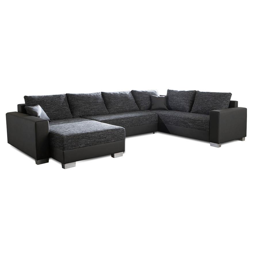 Fonction canapé-lit, recouvrement en tissu et similicuir.