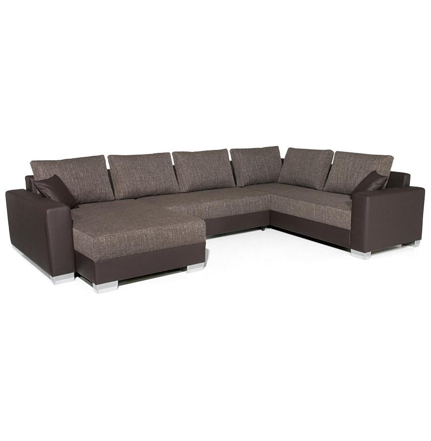 Grand canapé-lit panoramique en tissu et similicuir.
